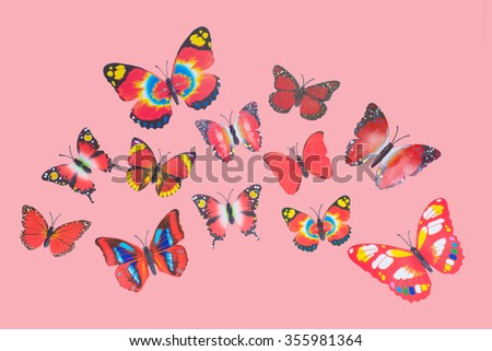 Collection of Red Fantasy Butterflies