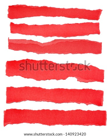 Collection of red paper tears, isolated on white with soft shadows. - stock photo