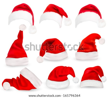 Collection of red santa hats. Raster version of vector