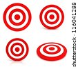 Collection of red targets isolated on white background - stock vector