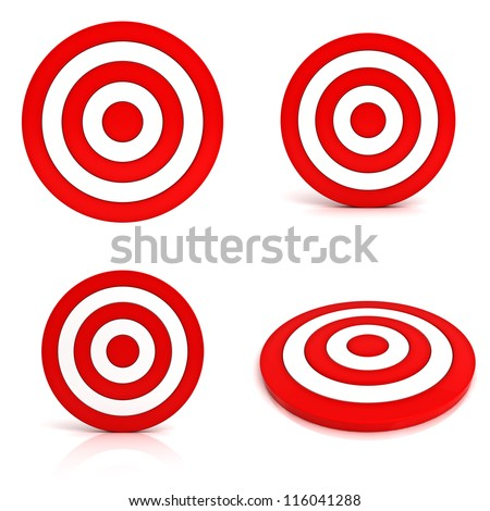 Collection of red targets isolated on white background - stock photo