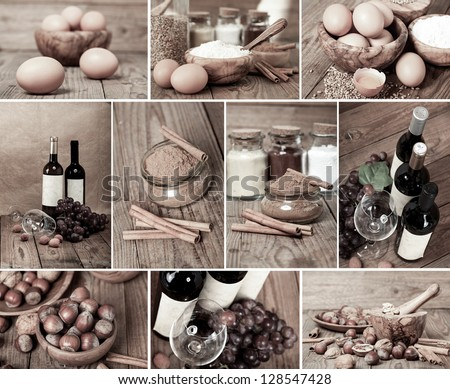 collection of red wine, eggs, cinnamon and nuts on wooden table - stock photo