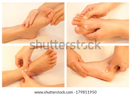 Collection of reflexology foot massage - stock photo