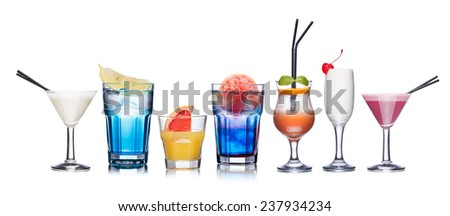 Collection of refreshing alcoholic cocktails - stock photo