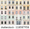 collection of 40 Renaissance and Baroque windows from Telc, Czech Republic - UNESCO World Heritage Site - stock photo