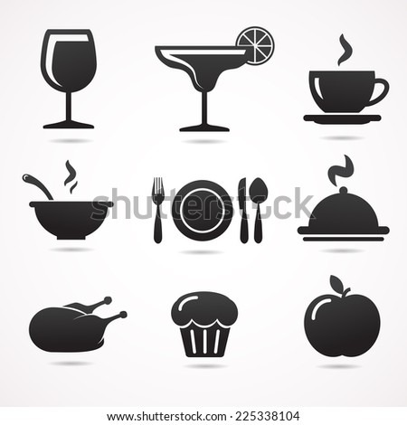 Collection of restaurant icons isolated on white background. - stock photo
