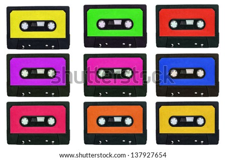 Collection of retro cassete tapes with multicolored stickers isolated on white - stock photo