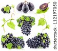 Collection of Ripe dark grapes with leaves, Isolated on white background - stock photo