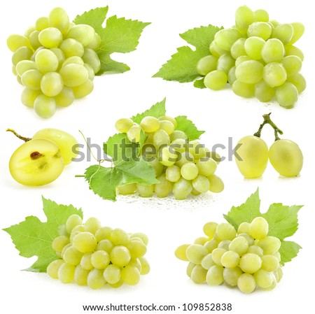 Collection of Ripe grapes with leaves, Isolated on white background - stock photo