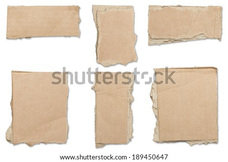 collection of ripped  brown pieces of cardboard, shadows, isolated on white.