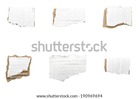 collection of ripped  white pieces of cardboard, no shadows, isolated on white. - stock photo