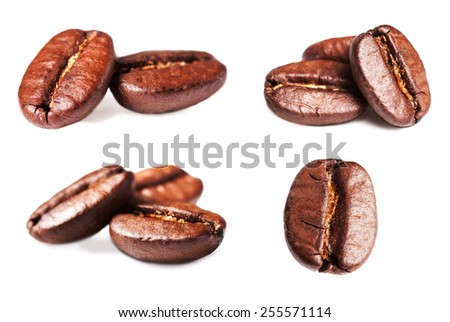 Collection of Roasted Coffee Beans isolated on white background. Closeup, macro. - stock photo