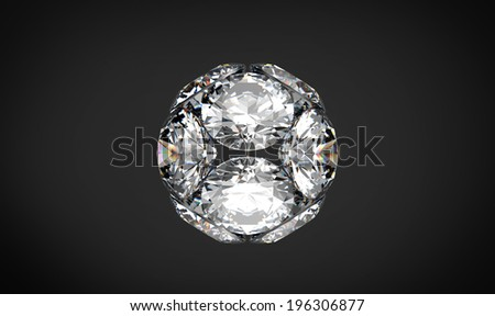 Collection of round diamond isolated on black background