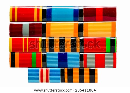 Collection Of Russian (Soviet) Medal Ribbons For Participation In The Second World War - stock photo