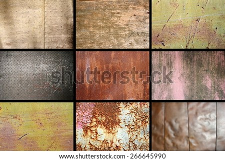 collection of rusty metallic surfaces put in one image - stock photo
