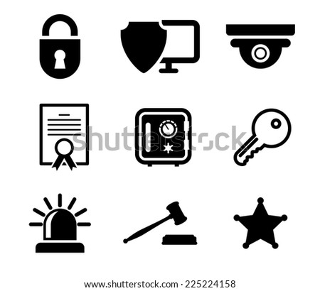 Collection of safety and security icons in black and white depicting a padlock, computer security, certificate, key, police light, gavel and sheriffs star - stock photo