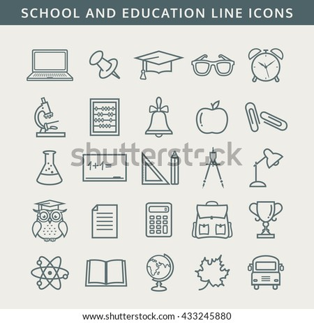 Collection of school and education icons. Line symbols set. Raster illustration.