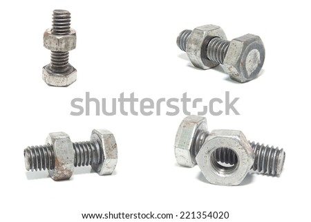 collection of screw isolated on the white backgrounds  - stock photo