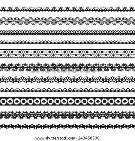 collection of seamless lace - stock photo