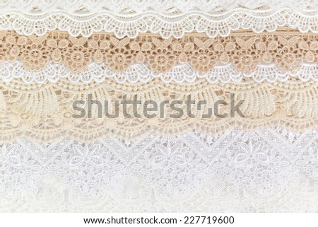 Collection of seamless ornamental floral lace tracery - stock photo