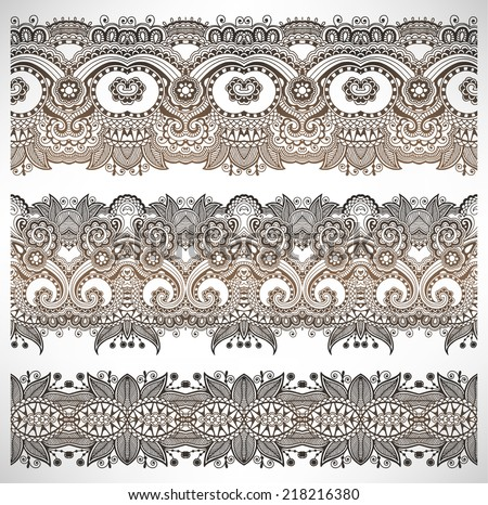 collection of seamless ornamental floral stripes, lace paisley decoration, raster version