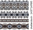collection of seamless ornamental floral stripes, raster version - stock