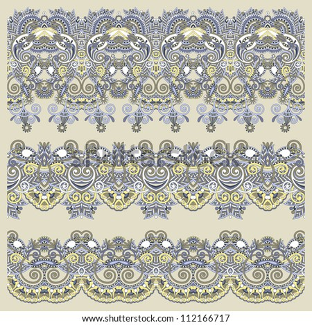 collection of seamless ornamental floral stripes. Raster version