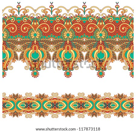collection of seamless ornamental floral stripes . Raster version - stock photo