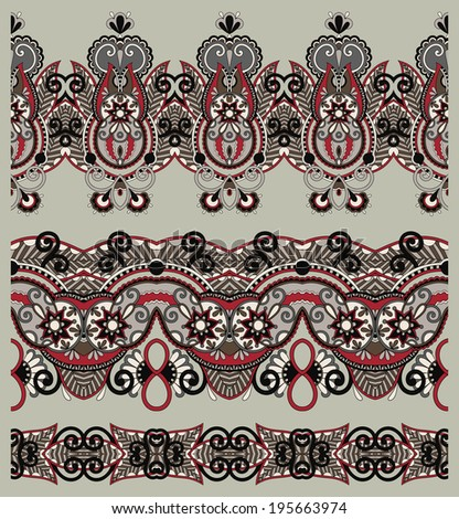 collection of seamless ornamental floral stripes, raster version
