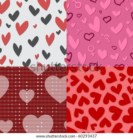 Collection of seamless pattern Valentine's Day