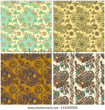 collection of seamless wallpaper. Raster version - stock photo