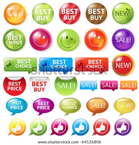 Collection Of Selling Badges, Isolated On White Background - stock photo