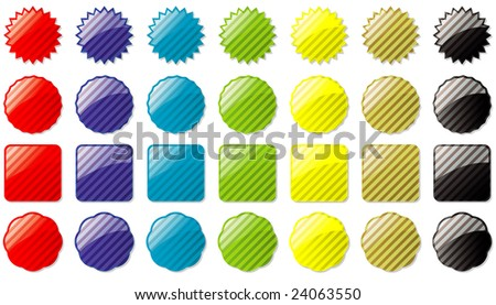 Collection of seven different colored buttons all with a striped pattern