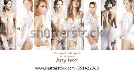 Collection of sexy seductive brides posing on isolated background.  - stock photo