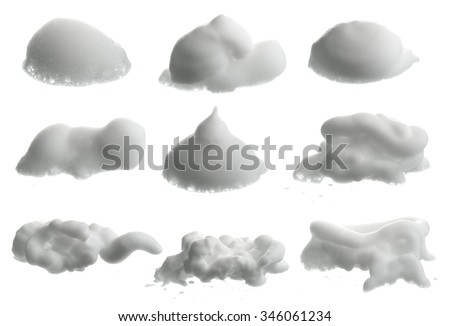 Collection of Shave foam (cream)  isolated on white - stock photo