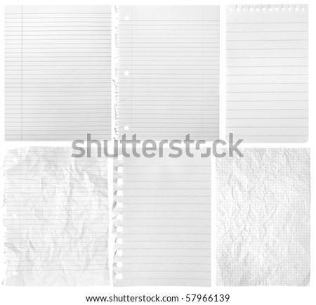 Collection of sheets from notebooks on white background - stock photo