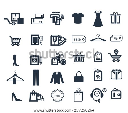 Collection of shopping icons such as tag, sticker, basket, bag, clothes rack, gift in black color isolated on white background. Raster version - stock photo
