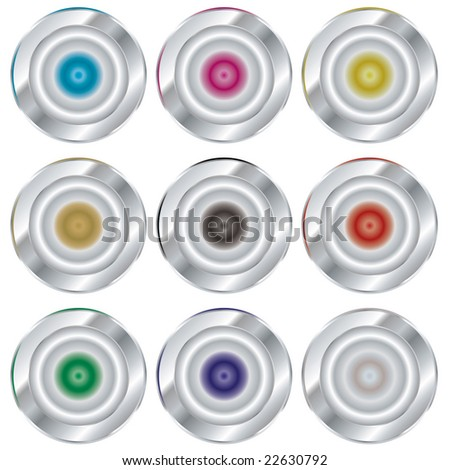 collection of silver buttons with color variations and copy space