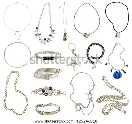 collection of silver jewelery - stock photo