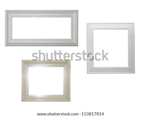 collection of simple white frames - stock photo