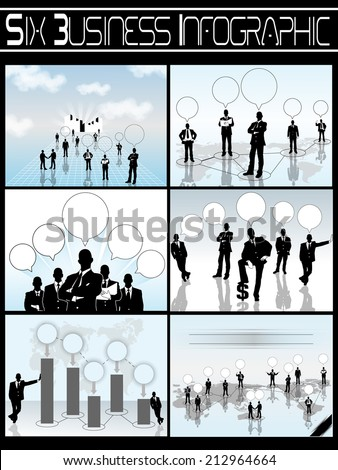 COLLECTION OF SIX BUSINESSMAN INFOGRAPHIC - stock photo