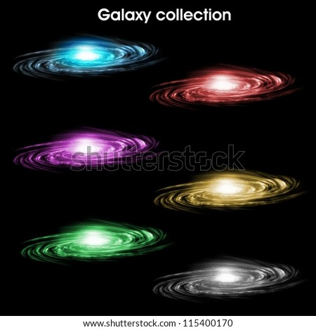 Collection of six color spiral galaxies - stock photo