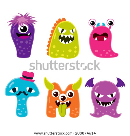 Collection of six different cute funny Halloween monster mascot cartoon characters
