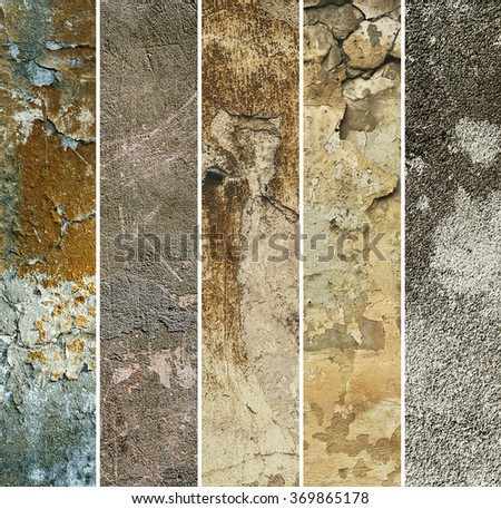 Collection of six narrow  images with vintage grunge texture of old weathered dirty wall, suitable for web sites - stock photo
