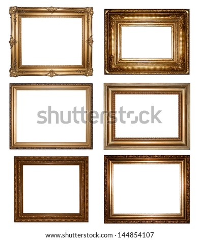 Collection of six rectangular empty gold frames with different surrounds and blank interior copy space for your artwork or photograph isolated on white