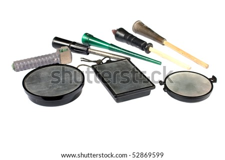 collection of slate calls, devices for simulating female turkey sounds and thereby attracting the male turkey to the hunter - stock photo