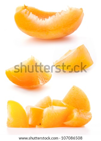 Collection of slice apricots, isolated on white background - stock photo
