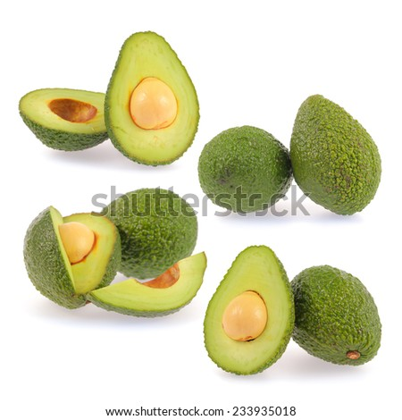 Collection of slice avocado isolated on white background - stock photo