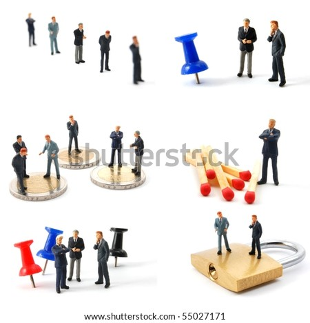collection of small toy business man showing financial concept - stock photo