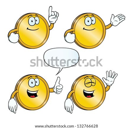 Collection of smiling golden coins with various gestures. - stock photo